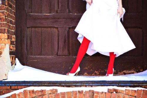 red tights bride