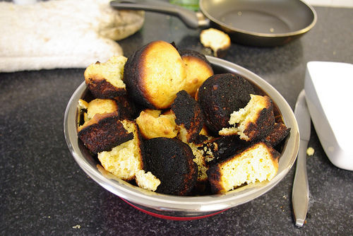 burned cornbread muffins