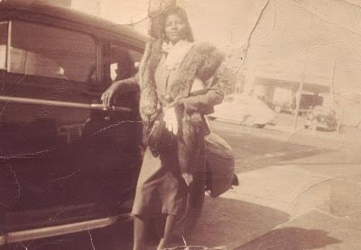 vintage photo woman car fur coat