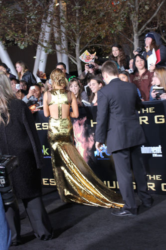 Jennifer Lawrence gold dress