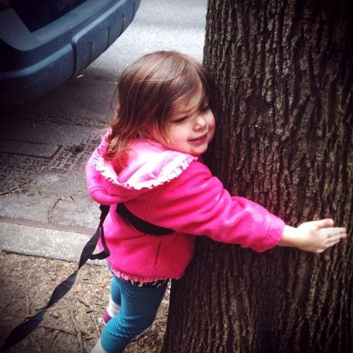 penelope on a leash hugging tree