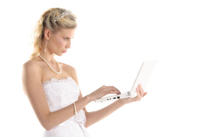 bride on a laptop
