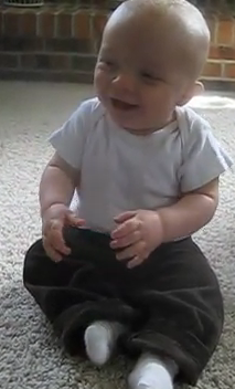 baby vacuum giggling