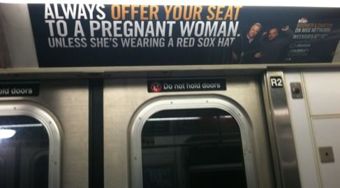 Yankees Red Sox pregnant women ad