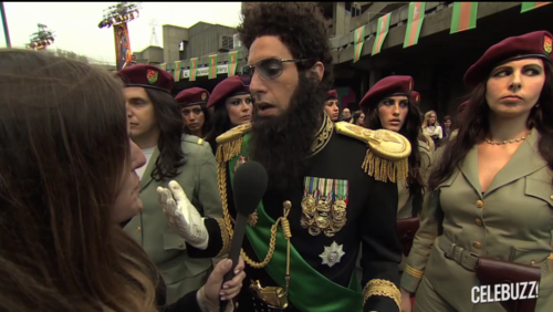 sacha baron cohen as the dictator on the red carpet