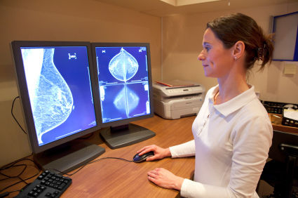 woman checking breast x-ray