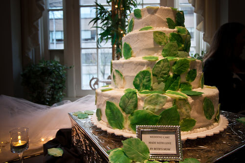 wedding cake wrapped with leaves