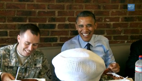 obama eating bbq at kenny's smokehouse