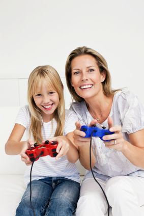 mom and daughter playing video games