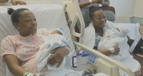 twin sisters give birth