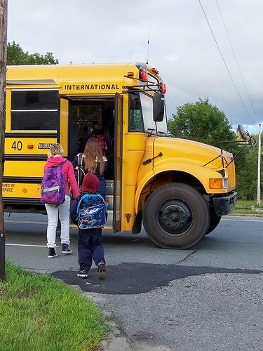 backpacks school bus