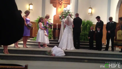 little flower girl falls asleep during ceremony