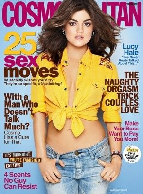 lucy hale on cover of cosmo september 2012