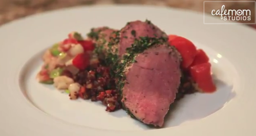 Herb-Crusted Pork Tenderloin with Quinoa & Fennel Pilaf, Glazed Carrots & Sautéed Hominy