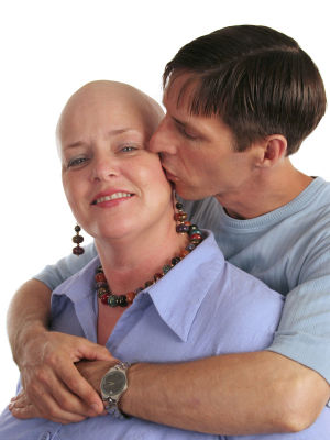 cancer patient with her husband