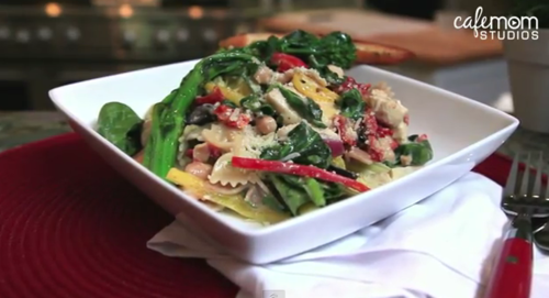 tuscan chicken pasta with lemon-garlic broccoli rabe