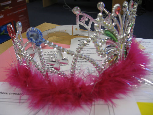 tiara on desk