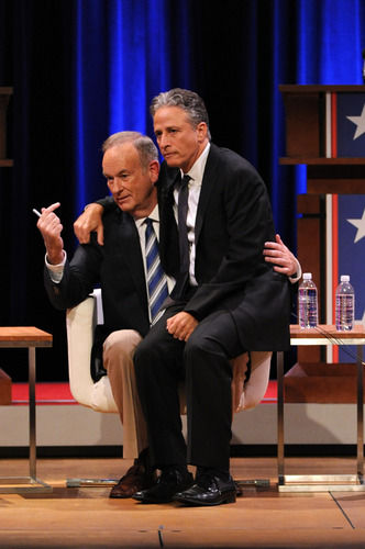 Jon Stewart and Bill O'Reilly onstage at