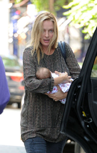 Uma Thurman and baby