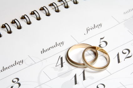 wedding rings on planner