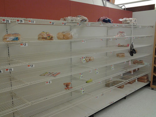 hurricane sandy bread shelf