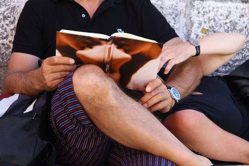 couple reading steamy novel