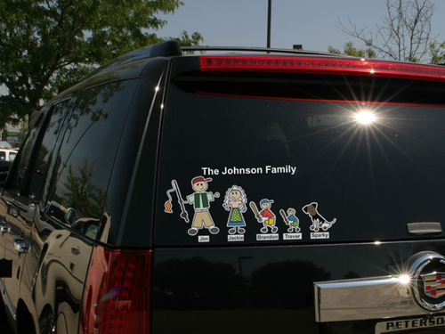 car with family bumper sticker on it