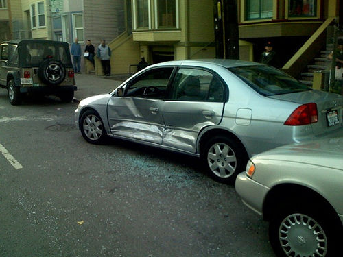sideswiped car