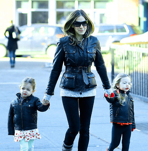 sarah jessica parker twins leather jackets