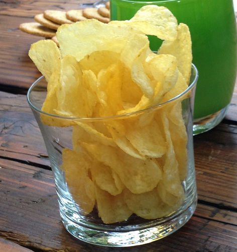 potato chips in a glass