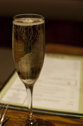 champagne at restaurant table