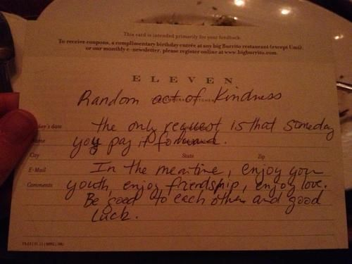 random act of kindness eleven restaurant