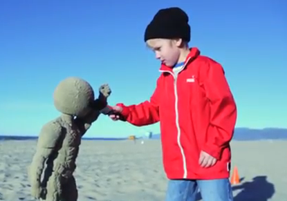 kid sandcastle
