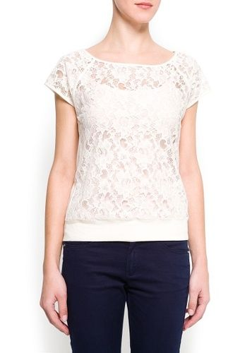 Mango tee sheer lace