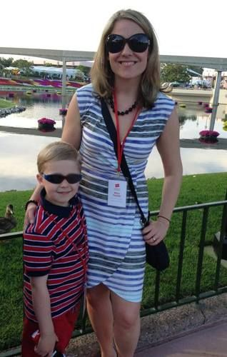 Mom and son at Epcot