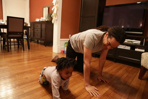 Xavier and me crawling