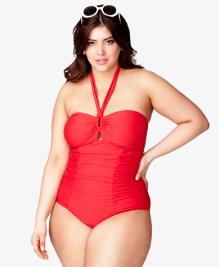 red halter swimsuit vintage plus size