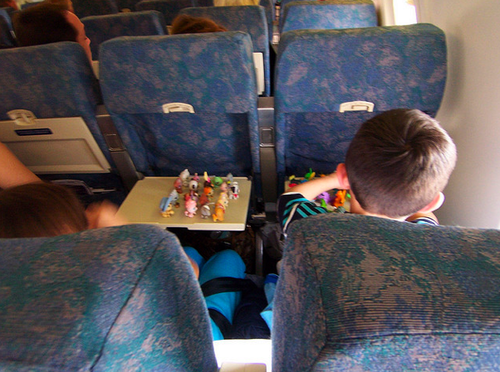 kids on airplane