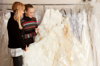 two women buying wedding dress