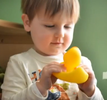 boy with rubber duck