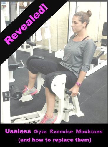 Photo of woman using outer thigh machine