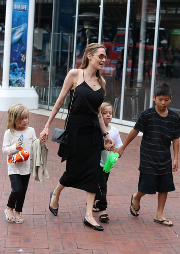 angelina jolie walking with children