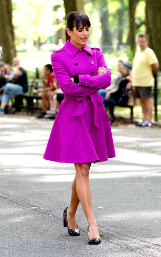 lea michele shooting glee in central park september 2013