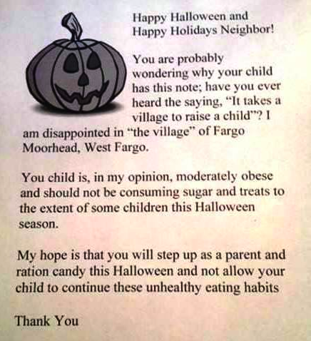 An unwelcome Halloween letter.
