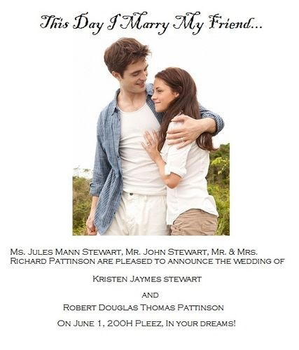 robert pattinson kristen stewart wedding announcement