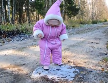 toddler walking on ice
