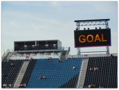 Goal sign at stadium