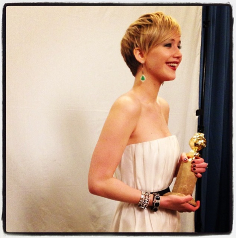 jennifer lawrence with her golden globe instagram 2014