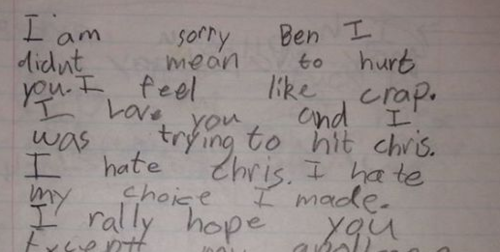Kid's epic apology letter