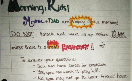 Parents letter to kids in the morning